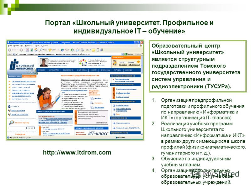 http://www.itdrom.com Портал «Школьный университет. Профильное и индивидуальное IT – обучение» Образовательный центр «Школьный университет» является структурным подразделением Томского государственного университета систем управления и радиоэлектроник
