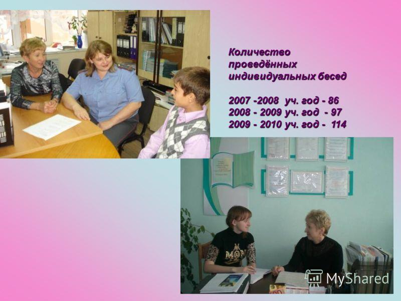 Проведение бесед и консультаций При проведение бесед консультаций для родителей и учащихся использую индивидуальные и групповые формы работы. Регулярно приглашаются в школу родители и подростки на индивидуальные беседы с регистрацией в тетради учёта.