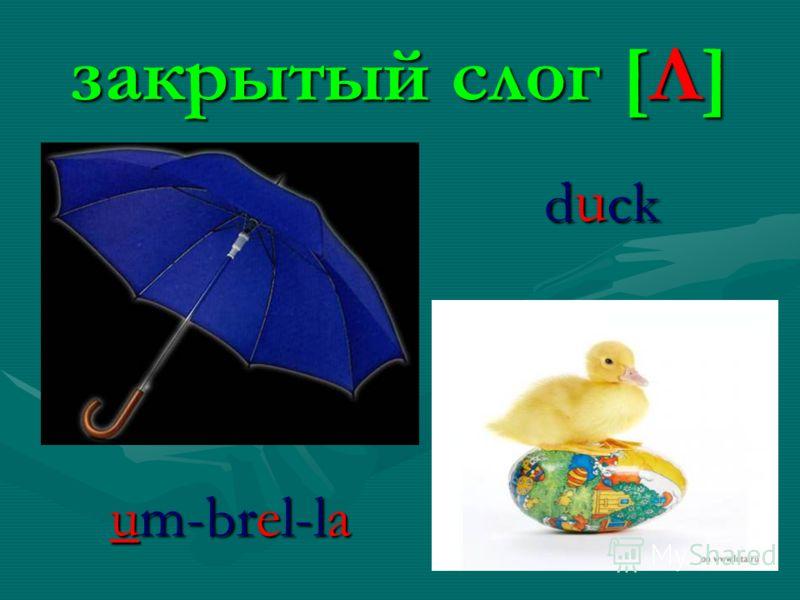 закрытый слог [Λ] d u ck um-brel-la