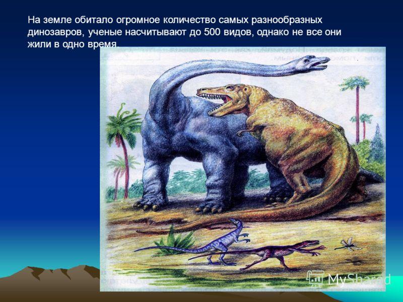 На земле обитало огромное количество самых разнообразных динозавров, ученые насчитывают до 500 видов, однако не все они жили в одно время.