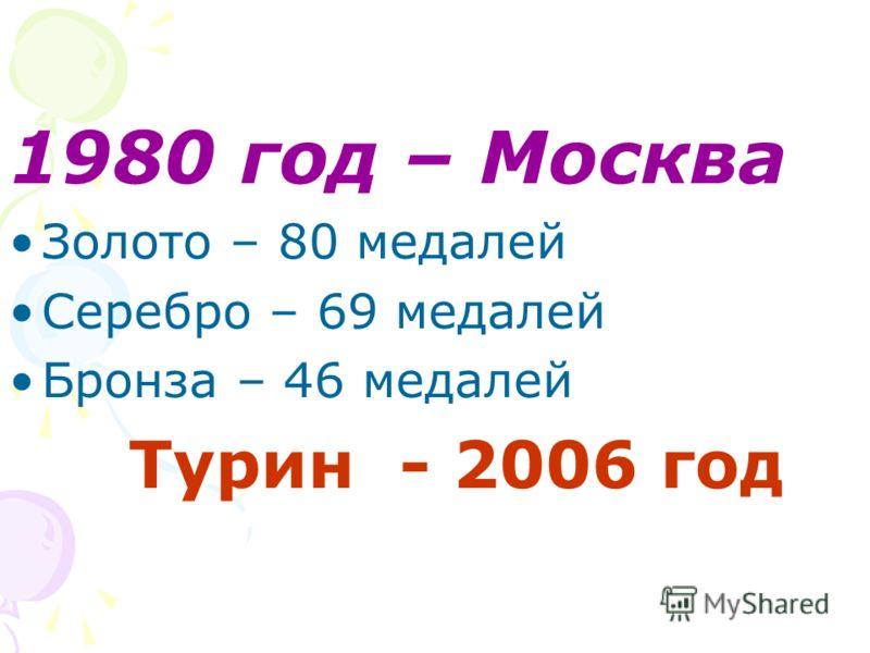 1980 год – Москва Золото – 80 медалей Серебро – 69 медалей Бронза – 46 медалей Турин - 2006 год