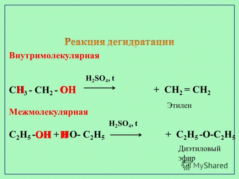 Внутримолекулярная H 2 SO 4, t СН 3 - СН 2 - ОН ОН Межмолекулярная H 2 SO 4, t С 2 Н 5 -ОН + НО- С 2 Н 5 ОНН Н + СН 2 = СН 2 + С 2 Н 5 -О-С 2 Н 5 Этилен Диэтиловый эфир
