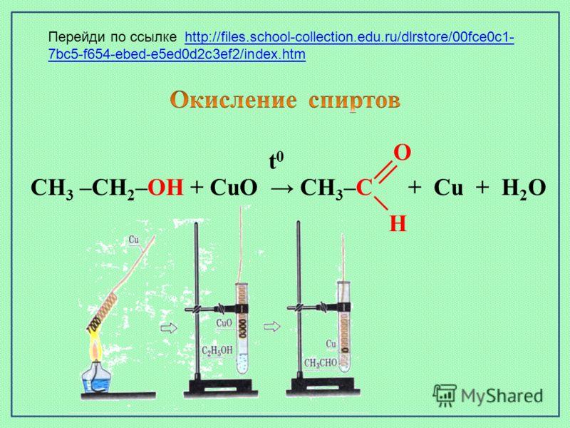 CH 3 –CH 2 –OH + CuO CH 3 –C + Cu + H 2 O t0t0 O H Перейди по ссылке http://files.school-collection.edu.ru/dlrstore/00fce0c1- 7bc5-f654-ebed-e5ed0d2c3ef2/index.htmhttp://files.school-collection.edu.ru/dlrstore/00fce0c1- 7bc5-f654-ebed-e5ed0d2c3ef2/in