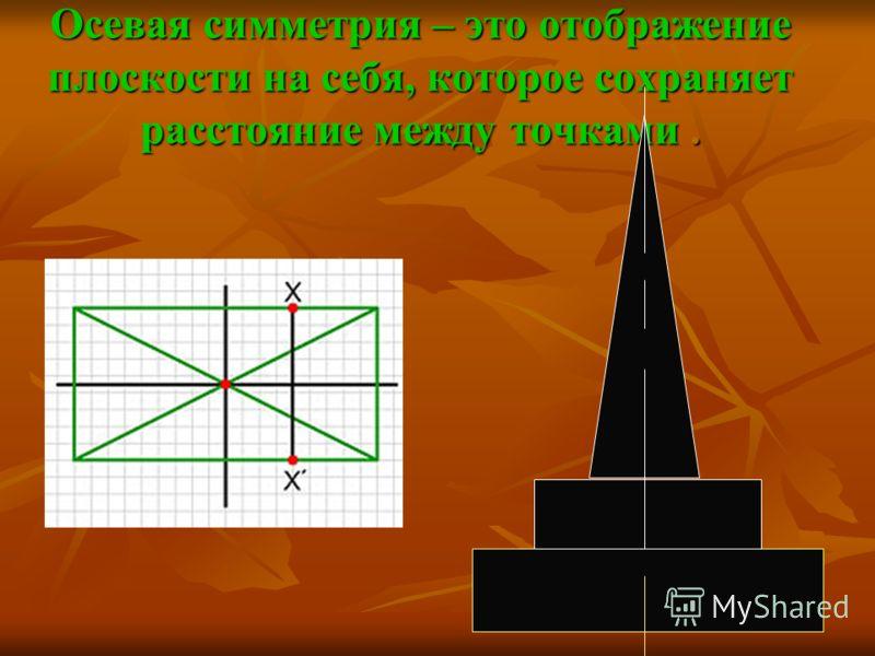 Осевая симметрия – это отображение плоскости на себя, которое сохраняет расстояние между точками.