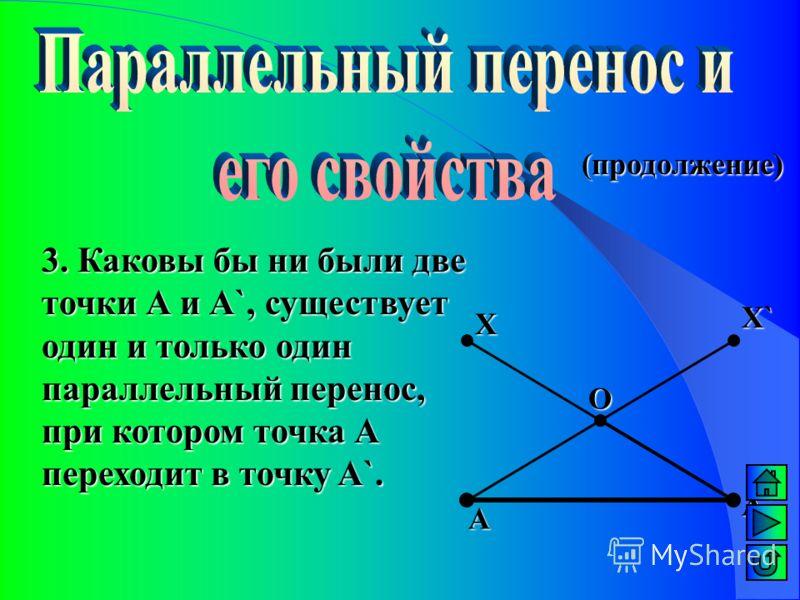 2. При параллельном переносе прямая переходит в параллельную прямую (или в себя). (продолжение) А А`А`А`А` В`В`В`В` О В В