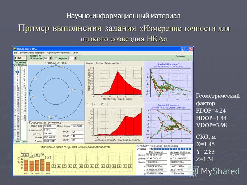 Пример выполнения задания «Измерение точности для низкого созвездия НКА» СКО, м X=1.45 Y=2.83 Z=1.34 Геометрический фактор PDOP=4.24 HDOP=1.44 VDOP=3.98 Научно-информационный материал