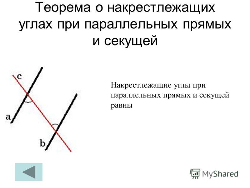 Теорема о накрестлежащих углах при параллельных прямых и секущей Накрестлежащие углы при параллельных прямых и секущей равны
