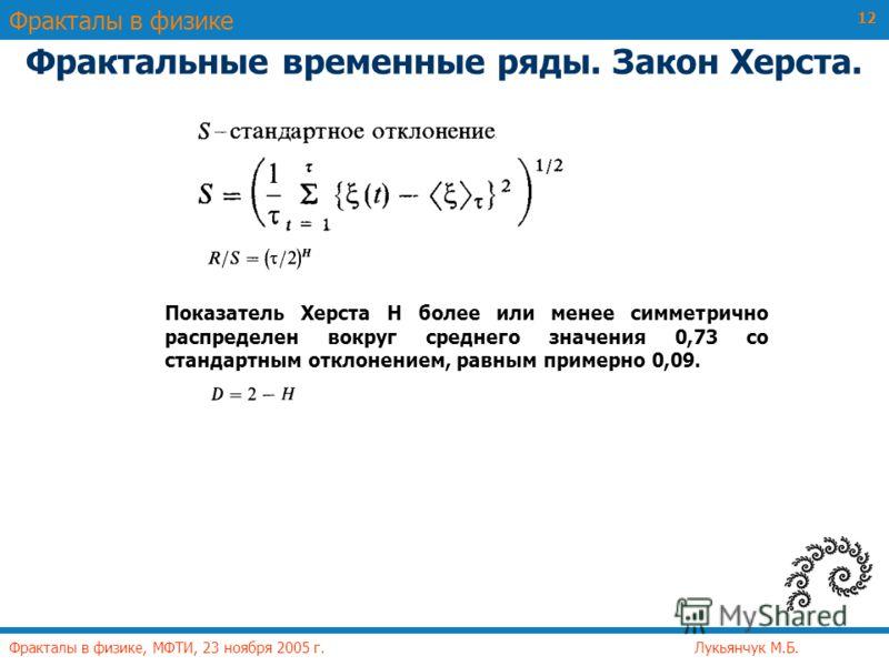 Фракталы в физике Фракталы в физике, МФТИ, 23 ноября 2005 г. Лукьянчук М.Б. 12 Фрактальные временные ряды. Закон Херста. Показатель Херста Н более или менее симметрично распределен вокруг среднего значения 0,73 со стандартным отклонением, равным прим