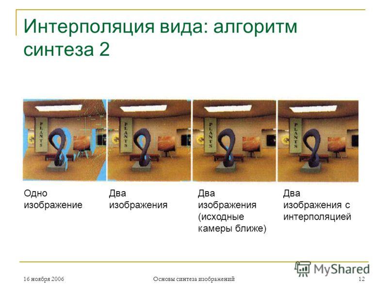 16 ноября 2006 Основы синтеза изображений 12 Интерполяция вида: алгоритм синтеза 2 Одно изображение Два изображения Два изображения (исходные камеры ближе) Два изображения с интерполяцией