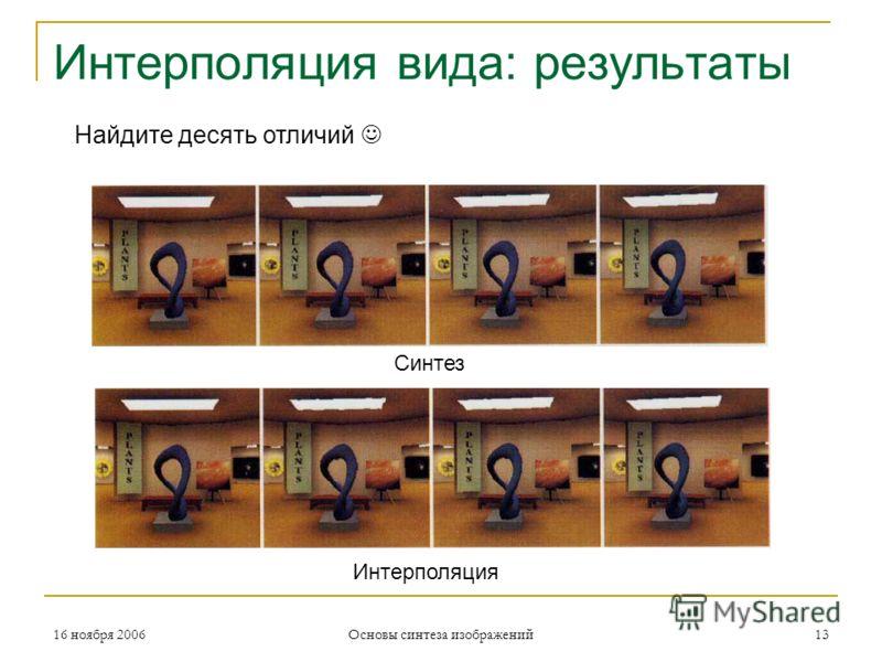16 ноября 2006 Основы синтеза изображений 13 Интерполяция вида: результаты Синтез Интерполяция Найдите десять отличий