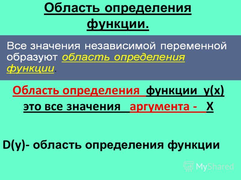 Область определения функции. Область определения функции у(х) это все значения аргумента - Х D(у)- область определения функции