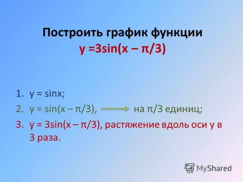 Построить график функции у =3sin(x – π/3) 1.y = sinx; 2.y = sin(x – π/3), на π/3 единиц; 3.y = 3sin(x – π/3), растяжение вдоль оси у в 3 раза.