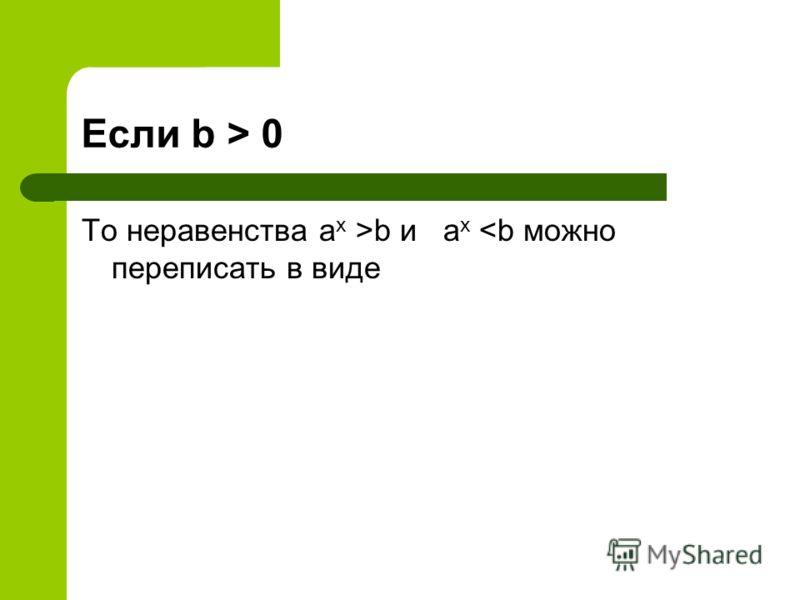 Если b > 0 То неравенства a x >b и a x