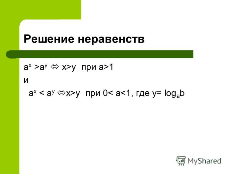 Решение неравенств a x >а у x>y при а>1 и a x y при 0< а