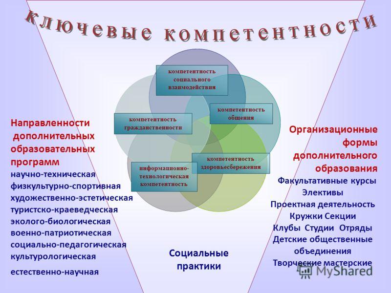 компетентность здоровьесбережения компетентность гражданственности информационно- технологическая компетентность компетентность социального взаимодействия компетентность общения Направленности дополнительных образовательных программ научно-техническа