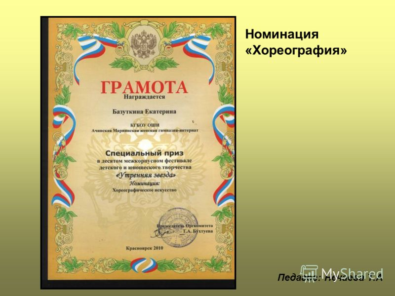 Номинация «Хореография» Педагог: Нечаева Т.А