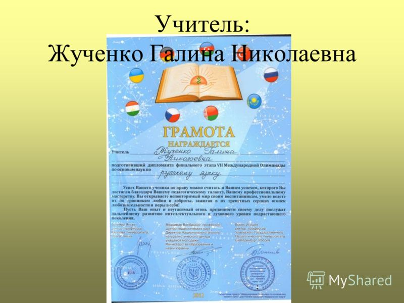 Учитель: Жученко Галина Николаевна