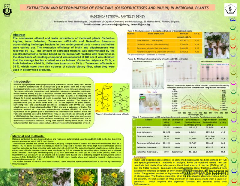 University of Food Technologies, Department of Organic Chemistry and Microbiology, 26 Maritza Blvd., Plovdiv, Bulgaria E-mail address: petkovanadejda@abv.bg, denev57@abv.bg Abstract Тhe continuous ethanol and water extractions of medicinal plants Cic