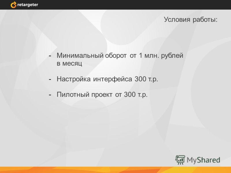 Условия работы: -Минимальный оборот от 1 млн. рублей в месяц -Настройка интерфейса 300 т.р. -Пилотный проект от 300 т.р.