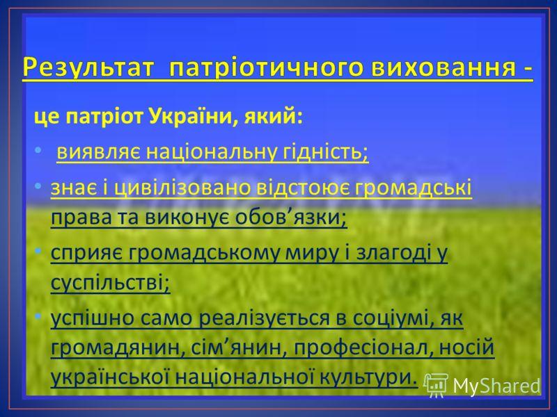 це патріот України, який : виявляє національну гідність ; знає і цивілізовано відстоює громадські права та виконує обов язки ; сприяє громадському миру і злагоді у суспільстві ; успішно само реалізується в соціумі, як громадянин, сім янин, професіона