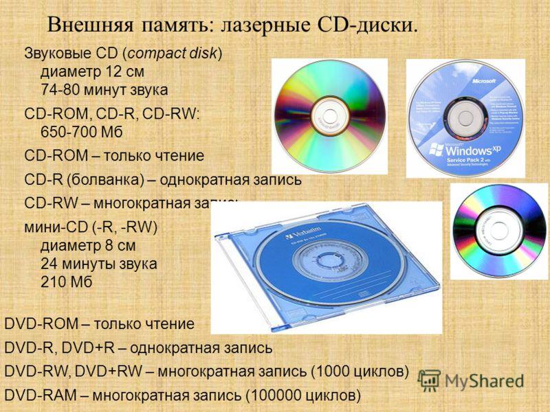 Внешняя память: лазерные CD-диски. Звуковые CD (compact disk) диаметр 12 см 74-80 минут звука CD-ROM, CD-R, CD-RW: 650-700 Мб CD-ROM – только чтение CD-R (болванка) – однократная запись CD-RW – многократная запись мини-CD (-R, -RW) диаметр 8 см 24 ми