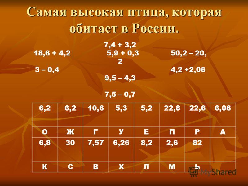 Самая высокая птица, которая обитает в России. 6,2 10,65,35,222,822,66,08 ОЖГУЕПРА 6,8307,576,268,22,682 КСВХЛМЬ 7,4 + 3,2 18,6 + 4,2 5,9 + 0,3 50,2 – 20, 2 3 – 0,4 4,2 +2,06 9,5 – 4,3 7,5 – 0,7