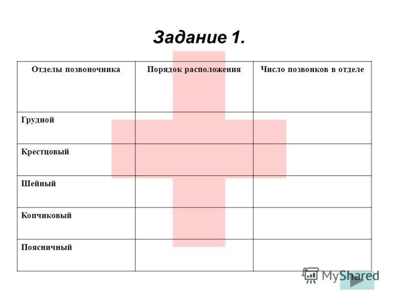 Задание 1. Отделы позвоночникаПорядок расположенияЧисло позвонков в отделе Грудной Крестцовый Шейный Копчиковый Поясничный