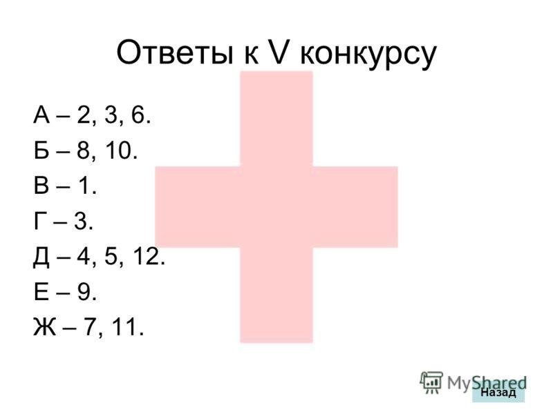 Ответы к V конкурсу А – 2, 3, 6. Б – 8, 10. В – 1. Г – 3. Д – 4, 5, 12. Е – 9. Ж – 7, 11. Назад