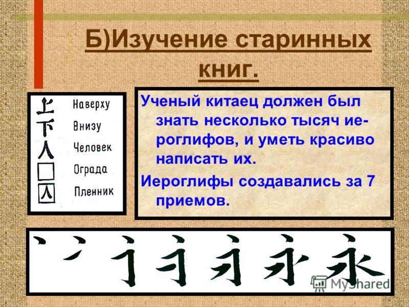 Б)Изучение старинных книг. * Рассмотрите слайд. ? Попытайтесь сос- тавить рассказ о том, как создава- лись «бамбуковые книги»? Свиток Кисти Тушь Тушечница Сосуд для воды