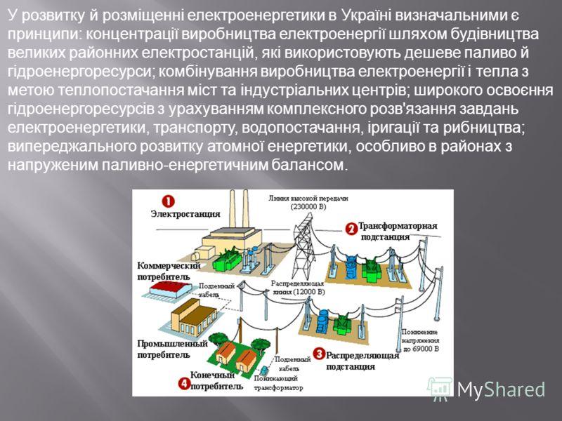 У розвитку й розміщенні електроенергетики в Україні визначальними є принципи: концентрації виробництва електроенергії шляхом будівництва великих районних електростанцій, які використовують дешеве паливо й гідроенергоресурси; комбінування виробництва