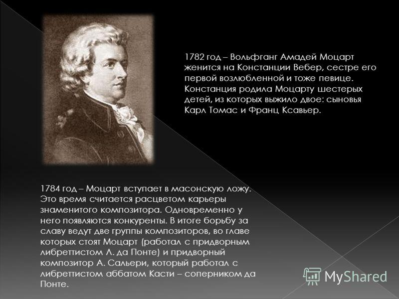 1782 год – Вольфганг Амадей Моцарт женится на Констанции Вебер, сестре его первой возлюбленной и тоже певице. Констанция родила Моцарту шестерых детей, из которых выжило двое: сыновья Карл Томас и Франц Ксавьер. 1784 год – Моцарт вступает в масонскую