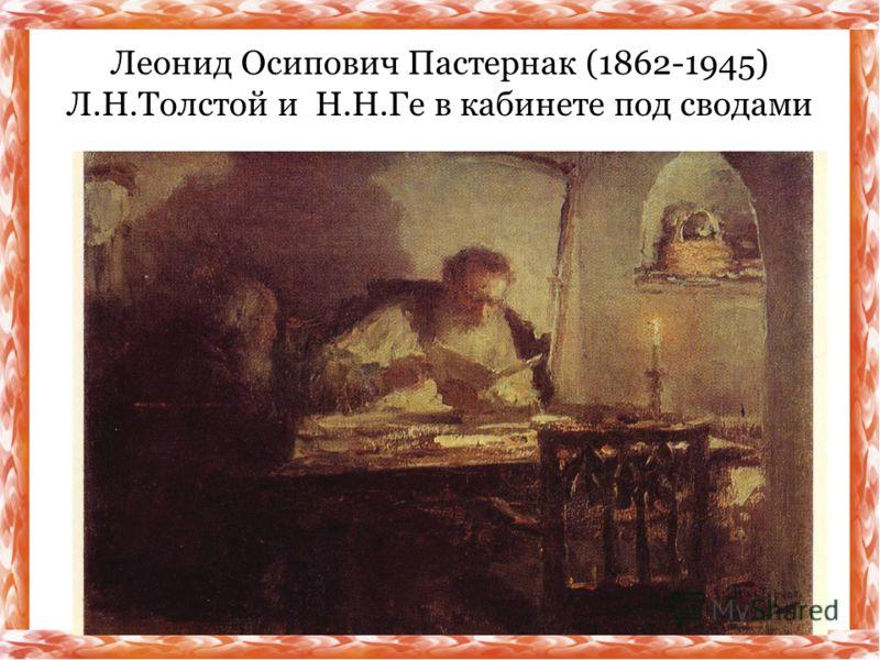 Леонид Осипович Пастернак (1862-1945) Л.Н.Толстой и Н.Н.Ге в кабинете под сводами