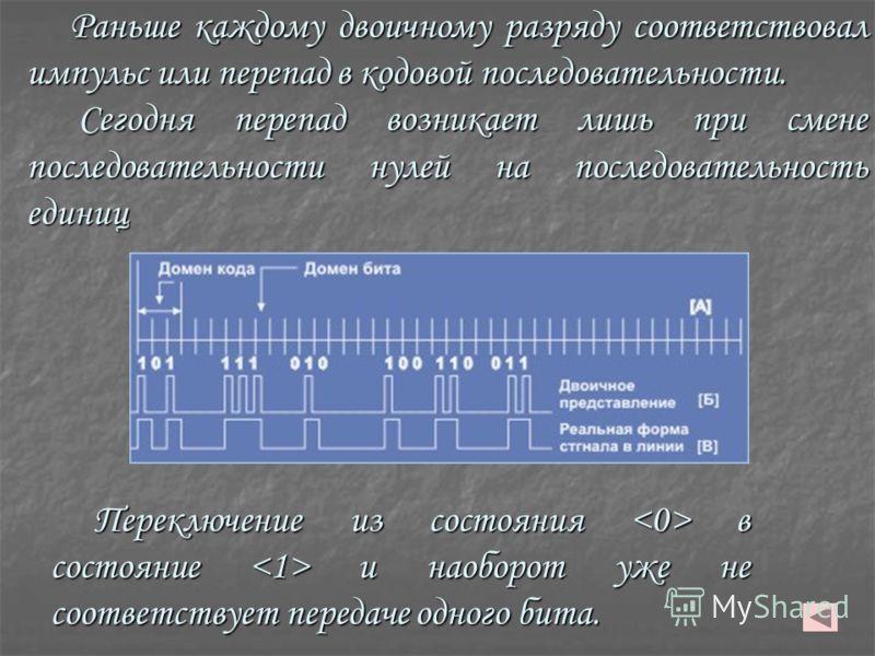 Раньше каждому двоичному разряду соответствовал импульс или перепад в кодовой последовательности. Сегодня перепад возникает лишь при смене последовательности нулей на последовательность единиц Сегодня перепад возникает лишь при смене последовательнос