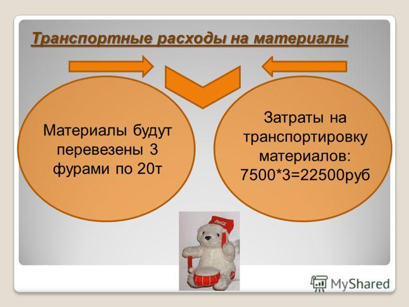 Транспортные расходы на материалы Материалы будут перевезены 3 фурами по 20т Затраты на транспортировку материалов: 7500*3=22500руб