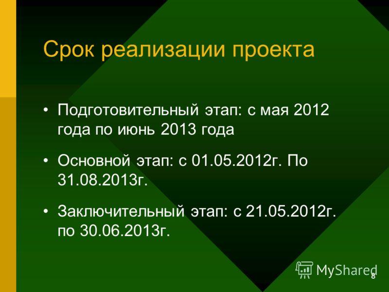8 Срок реализации проекта Подготовительный этап: с мая 2012 года по июнь 2013 года Основной этап: с 01.05.2012г. По 31.08.2013г. Заключительный этап: с 21.05.2012г. по 30.06.2013г.