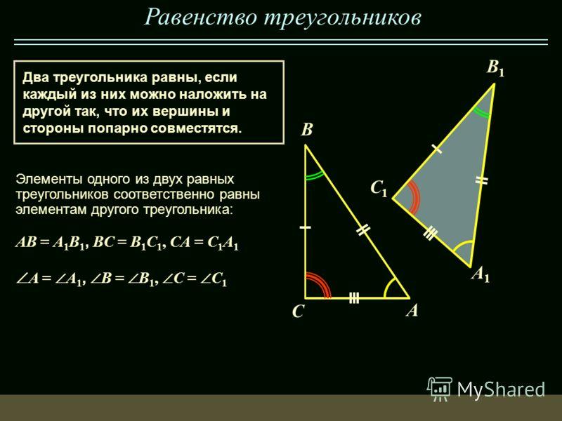 Равенство треугольников Два треугольника равны, если каждый из них можно наложить на другой так, что их вершины и стороны попарно совместятся. B A AB = A 1 B 1, BC = B 1 C 1, CA = C 1 A 1 C Элементы одного из двух равных треугольников соответственно