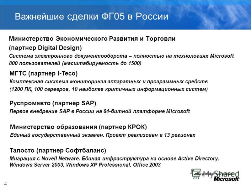 4 Важнейшие сделки ФГ05 в России Министерство Экономического Развития и Торговли (партнер Digital Design) Система электронного документооборота – полностью на технологиях Microsoft 800 пользователей (масштабируемость до 1500) МГТС (партнер I-Teco) Ко