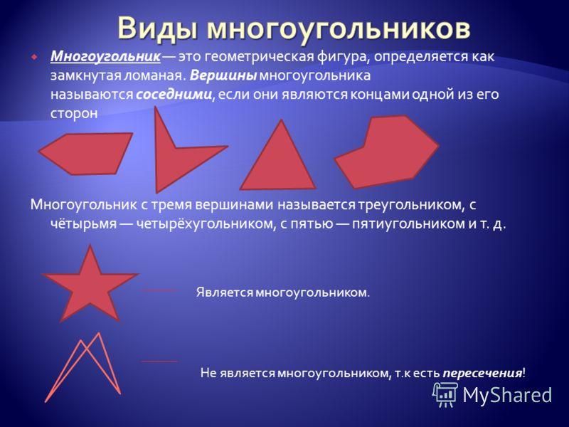 Многоугольник это геометрическая фигура, определяется как замкнутая ломаная. Вершины многоугольника называются соседними, если они являются концами одной из его сторон Многоугольник с тремя вершинами называется треугольником, с чётырьмя четырёхугольн