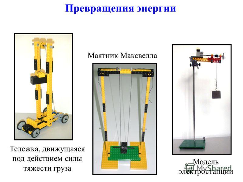 Превращения энергии Маятник Максвелла Тележка, движущаяся под действием силы тяжести груза Модель электростанции