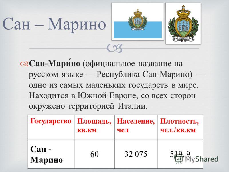 Сан - Марино ( официальное название на русском языке Республика Сан - Марино ) одно из самых маленьких государств в мире. Находится в Южной Европе, со всех сторон окружено территорией Италии. Сан – Марино Государство Площадь, кв. км Население, чел Пл