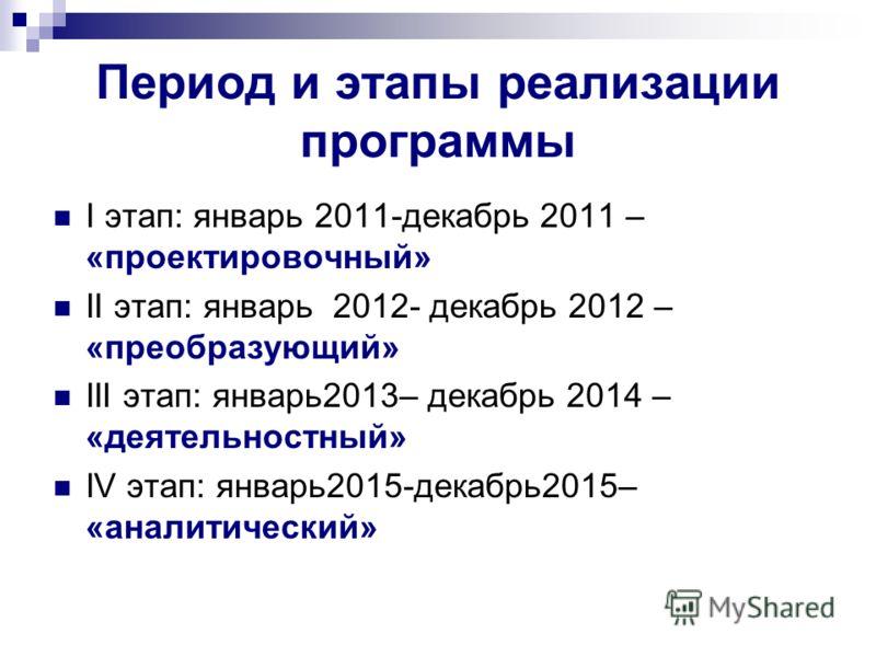 Период и этапы реализации программы I этап: январь 2011-декабрь 2011 – «проектировочный» II этап: январь 2012- декабрь 2012 – «преобразующий» III этап: январь2013– декабрь 2014 – «деятельностный» IV этап: январь2015-декабрь2015– «аналитический»