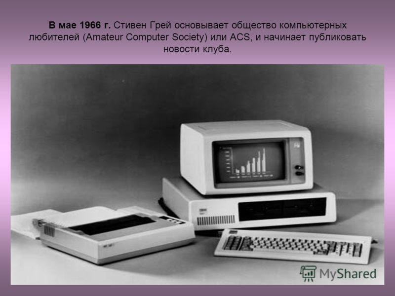 В мае 1966 г. Стивен Грей основывает общество компьютерных любителей (Amateur Computer Society) или ACS, и начинает публиковать новости клуба.