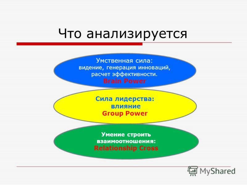 Что анализируется Сила лидерства: влияние Group Power Умение строить взаимоотношения: Relationship Cross Умственная сила: видение, генерация инноваций, расчет эффективности. Brain Power