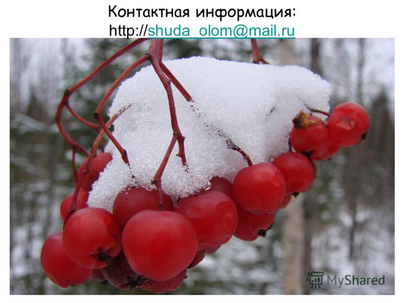 Контактная информация: http://shuda_olom@mail.rushuda_olom@mail.ru