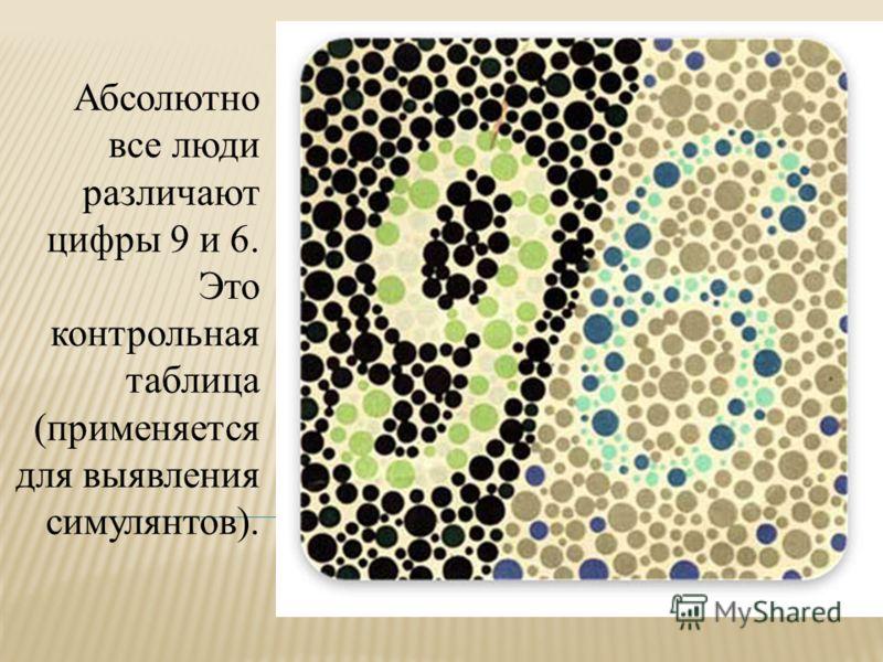Абсолютно все люди различают цифры 9 и 6. Это контрольная таблица (применяется для выявления симулянтов).