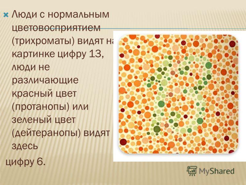 Люди с нормальным цветовосприятием (трихроматы) видят на картинке цифру 13, люди не различающие красный цвет (протанопы) или зеленый цвет (дейтеранопы) видят здесь цифру 6.