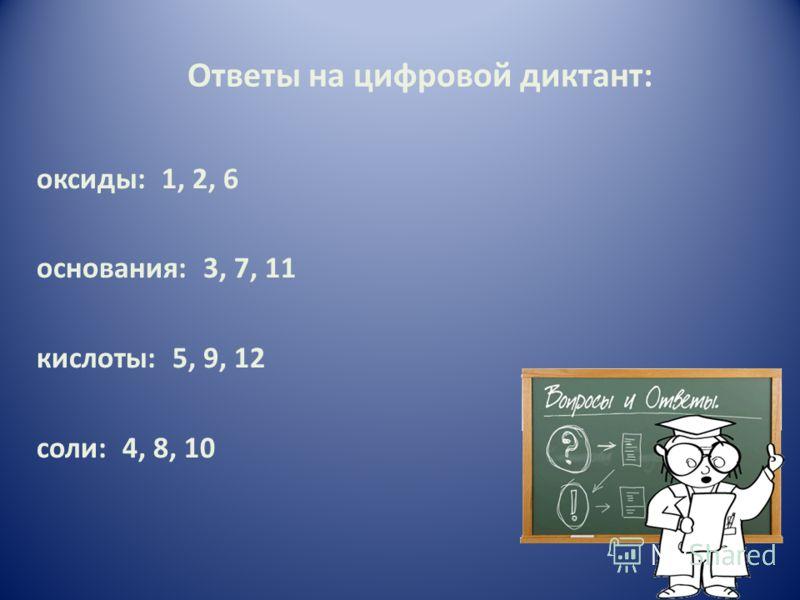 Ответы на цифровой диктант: оксиды: 1, 2, 6 основания: 3, 7, 11 кислоты: 5, 9, 12 соли: 4, 8, 10