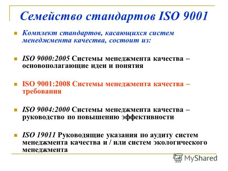 Семейство стандартов ISO 9001 Комплект стандартов, касающихся систем менеджмента качества, состоит из: ISO 9000:2005 Системы менеджмента качества – основополагающие идеи и понятия ISO 9001:2008 Системы менеджмента качества – требования ISO 9004:2000