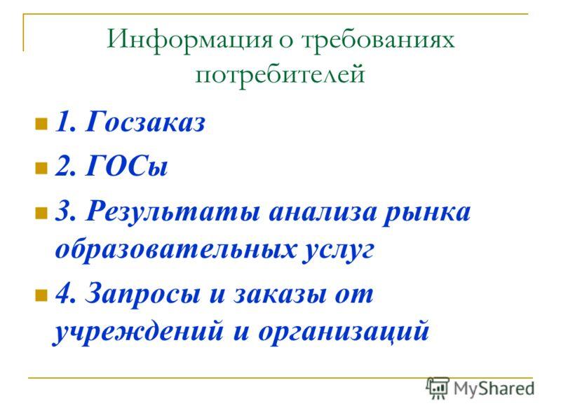 Информация о требованиях потребителей 1. Госзаказ 2. ГОСы 3. Результаты анализа рынка образовательных услуг 4. Запросы и заказы от учреждений и организаций