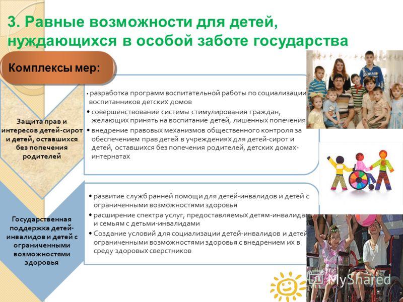 44 Защита прав и интересов детей - сирот и детей, оставшихся без попечения родителей разработка программ воспитательной работы по социализации воспитанников детских домов совершенствование системы стимулирования граждан, желающих принять на воспитани
